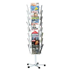 Стойка для рекламных материалов напольная, сетчатая, на 32 лотка, вращающаяся, белая