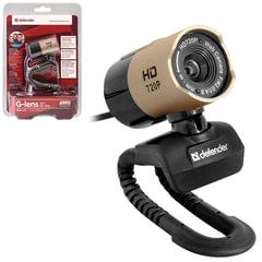 Веб-камера DEFENDER G-lens 2577 HD 720 p, 2 Мп, микофон, USB2.0, регулируемое крепление, золотистая + черная