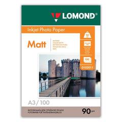 Фотобумага LOMOND для струйной печати, А3, 90 г/м2, 100 л., односторонняя, матовая, 0102011