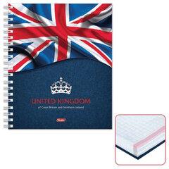 "Тетрадь 120 л., HATBER, 7БЦ, 4-х цветная, гребень, клетка, ""Британский флаг"", 120Тт5B1гр 12112"