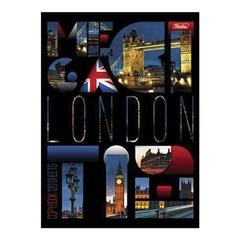 """Тетрадь на кольцах, 120 л., HATBER, ламинированная обложка, """"London"""""""