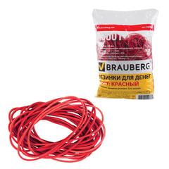 Резинки для денег BRAUBERG, красные, натуральный каучук, 1000 г
