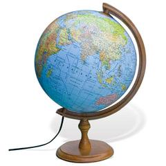 Глобус политический/физический GLOWALA, диаметр 320 мм, деревянная подставка