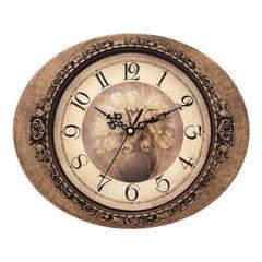 Часы настенные SCARLETT SC-25I овал, бежевые с рисунком, коричневая рамка, плавный ход