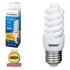 Лампа люминесцентная энергосберегающая SONNEN Т2, 11 (60) Вт, цоколь Е27, 12000 ч., холодный свет, премиум