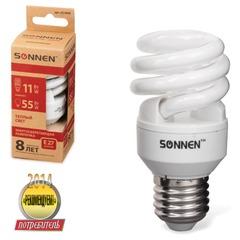 Лампа люминесцентная энергосберегающая SONNEN Т2, 11 (55) Вт, цоколь E27, 8000 часов, теплый свет, эконом