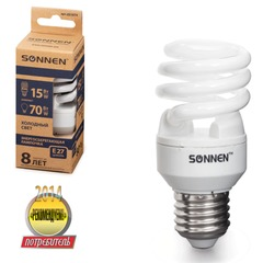 Лампа люминесцентная энергосберегающая SONNEN Т2, 15 (70) Вт, цоколь E27, 8000 часов, холодный свет, эконом