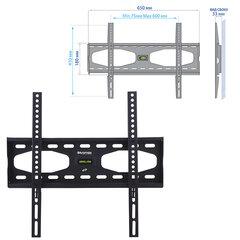 "Кронштейн-крепление для ТВ настенный KROMAX STAR-11, VESA 75-600/400, 32-65"", 0 степеней свободы, до 50 кг, серый"