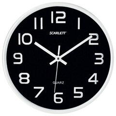 Часы настенные SCARLETT SC-WC1001O круглые, черные, серебристая рамка, пластик, плавный ход, 25,5х25,5х4,6 см