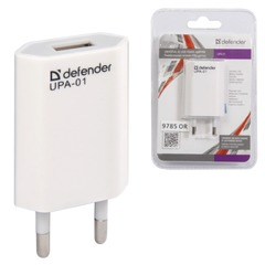 Зарядное устройство сетевое (220 В) DEFENDER UPA-01, 1 порт USB, выходной ток 1 А, белое, блистер