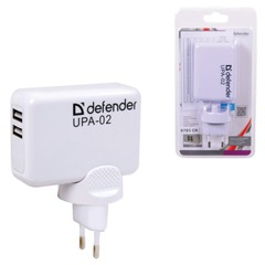 Зарядное устройство сетевое (220 В) DEFENDER UPA-02, 2 порта USB, выходной ток 1 А / 2 А, белое, блистер