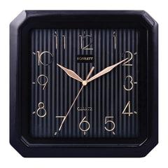 Часы настенные SCARLETT SC-52CB квадратные, черные, черная рамка, плавный ход, 27,8x27,6x3,7 см