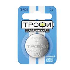 Батарейка ТРОФИ CR2430, литиевая, d=24 мм, h=3,0 мм, в блистере (1 шт.), 3 В