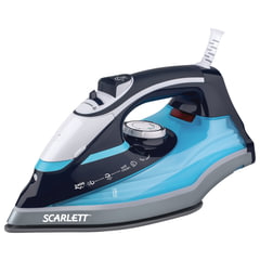 Утюг SCARLETT SC-SI30K18, 2400 Вт, терморегулятор, антипригарная поверхность, экорежим, черный/голубой