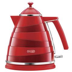 Чайник DELONGHI KBA2001.R, 1,7 л, 2000 Вт, скрытый нагревательный элемент, сталь/пластик, красный