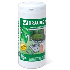 Чистящие салфетки BRAUBERG (БРАУБЕРГ) для LCD (ЖК)-мониторов, сухие и влажные в тубе, 50+50 шт.