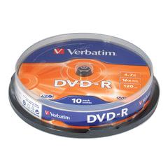 Диск DVD-R (минус) VERBATIM, 4,7 Gb, 16x, 10 шт., Cake Box