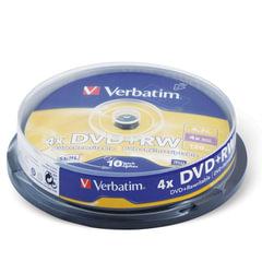 Диск DVD+RW (плюс) VERBATIM, 4,7 Gb, 4x, 10 шт., Cake Box