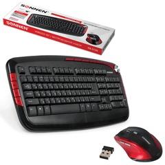 Набор беспроводной SONNEN KB-S130, клавиатура, мышь 5 кнопок+1 колесо-кнопка, черный/красный