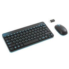 Набор беспроводной LOGITECH Wireless Combo MK240, клавиатура, мышь 2 кнопки + 1 колесо-кнопка, черный/голубой