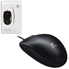 Мышь проводная LOGITECH B100, USB, 2 кнопки + 1 колесо-кнопка, оптическая, черная