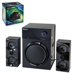 Колонки компьютерные DEFENDER AVANTE X50 BT, 2.1, 2Х10W, 1х30 W, MP3, FM, USB, SD, AUX, ПДУ, дерево, чёрные