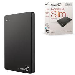Диск жесткий внешний SEAGATE Backup Plus Slim, 1TB, USB 3.0/2.0, черный