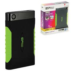 Диск жесткий внешний SILICON POWER ARMOR A15, 1TB, USB 3.0, ударостойкий, черный/зеленый