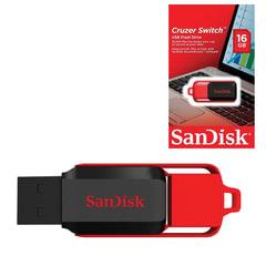 Флэш-диск 16 GB, SANDISK Cruzer Switch, USB 2.0, черно-красный