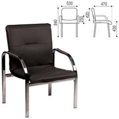 """Кресло для приемных и переговорных """"Staff"""", с подлокотниками, кожзаменитель, хром, черное"""