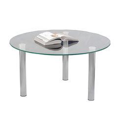 Стол журнальный, стекло/металл, Кристалл - ОМ, 800х800х417 мм, хром