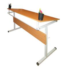 Стол-парта 2-местная, регулируемый угол, 1200х500х520-640 мм, рост 2-4, серый каркас, ЛДСП, бук