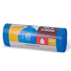 "Мешки для мусора, 160 л, PACLAN, комплект 20 шт., ""Big&Strong"", рулон, ПНД, прочные, 120х87 см, 21 мкм, синие"