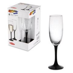 """Набор бокалов для шампанского PASABAHCE """"Imperial Black"""", темная ножка, 4 шт., 155 мл, стекло"""