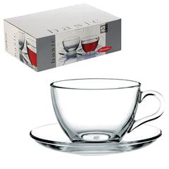 """Набор чайный """"Basic"""" на 6 персон (6 кружек 215 мл, 6 блюдец), стекло, PASABAHCE"""