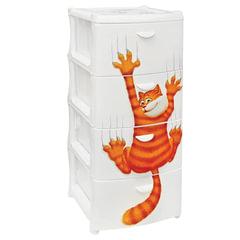 """Комод универсальный IDEA """"Рыжий кот"""", 4 секции, габариты в сборе, 96х40х50 см, белый"""