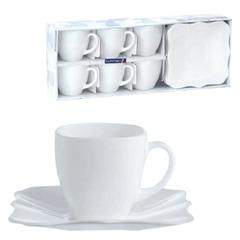 """Набор посуды чайный LUMINARC """"Authentic White"""", 6 кружек по 220 мл, 6 блюдец, белое стекло"""