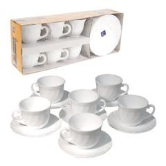"""Набор посуды кофейный LUMINARC """"Trianon"""", 6 кружек по 160 мл, 6 блюдец, белое стекло"""