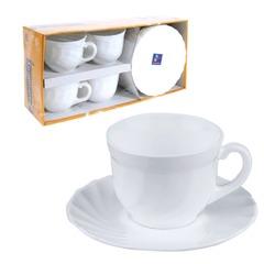 """Набор посуды чайный LUMINARC """"Trianon"""", 4 кружки по 280 мл, 4 блюдца, белое стекло"""