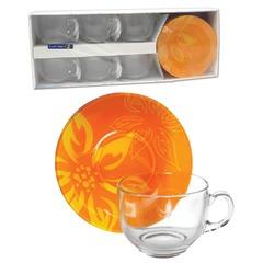 """Набор посуды чайный LUMINARC """"Lily Flower"""", 6 кружек по 220 мл, 6 блюдец, оранжевые узоры"""