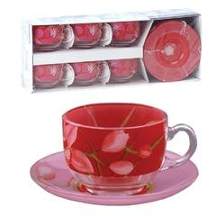 """Набор посуды чайный LUMINARC """"Red Orchis"""", 6 кружек по 220 мл, 6 блюдец, красные узоры"""