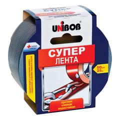 """Клейкая лента армированная, 50 мм х 25 м, UNIBOB """"Супер"""", универсальная, основа-полиэстер, подвес"""