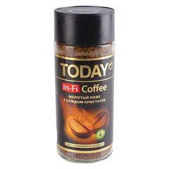 """Кофе молотый в растворимом TODAY """"In-Fi"""", сублимированный, 95 г, 100% арабика, стеклянная банка"""
