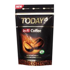 """Кофе молотый в растворимом TODAY """"In-Fi"""", сублимированный, 150 г, 100% арабика, мягкая упаковка"""