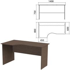 """Стол письменный эргономичный """"Канц"""", 1400х800х750 мм, левый, цвет венге (КОМПЛЕКТ)"""