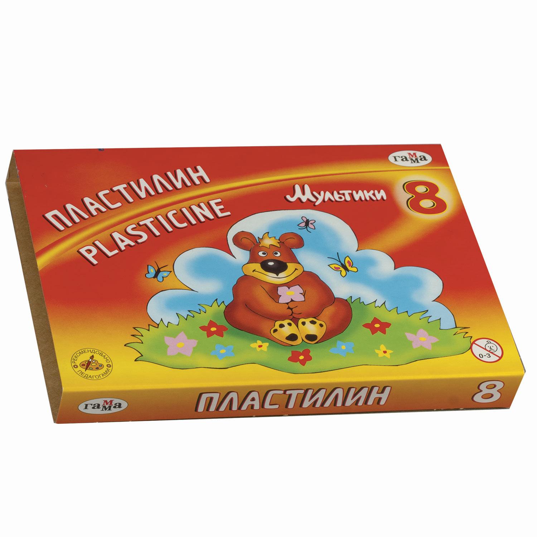 """Пластилин классический ГАММА """"Мультики"""", 8 цветов, 160 г, со стеком, картонная упаковка, 280016/281016"""