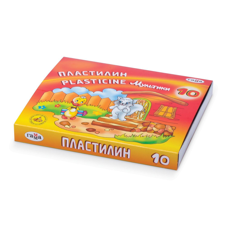 """Пластилин классический ГАММА """"Мультики"""", 10 цветов, 200 г, со стеком, картонная упаковка, 280017/281017"""