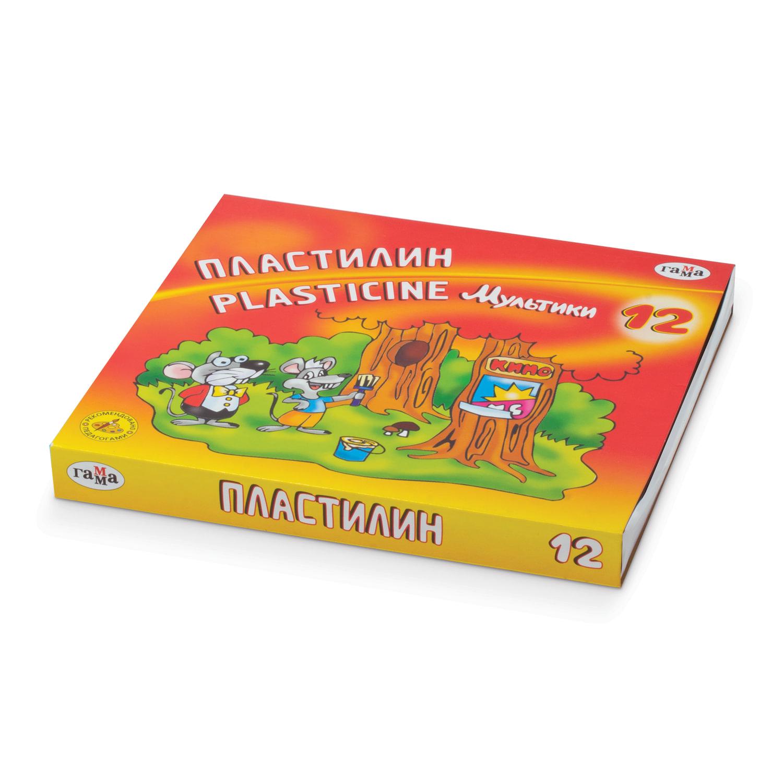"""Пластилин классический ГАММА """"Мультики"""", 12 цветов, 240 г, со стеком, картонная упаковка, 280018/281018"""