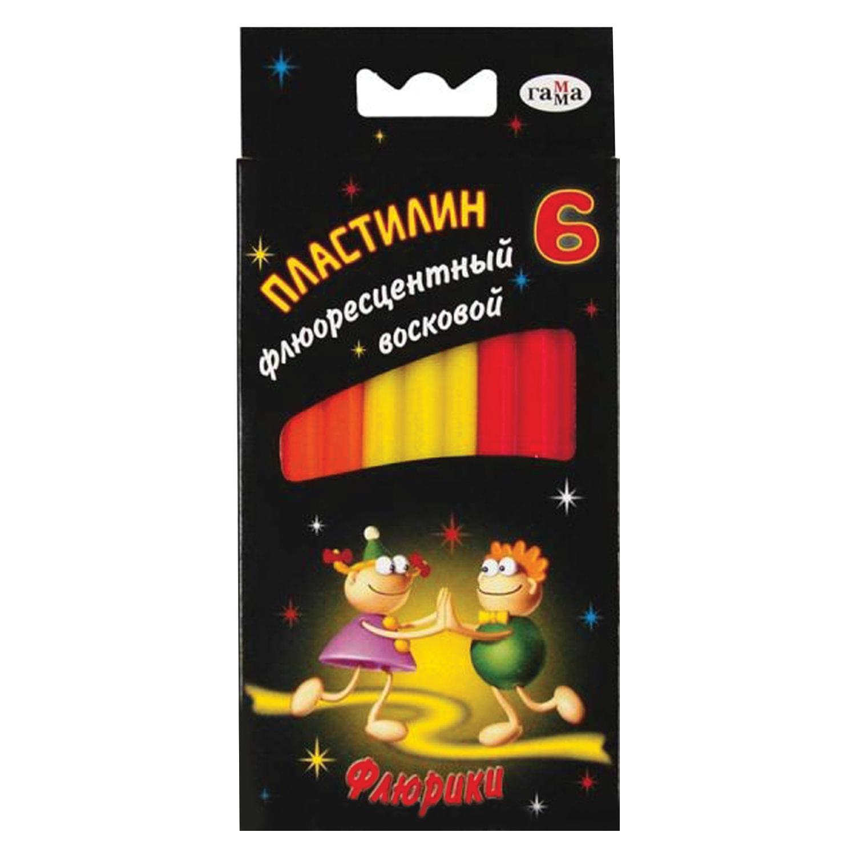 """Пластилин восковой флуоресцентный ГАММА """"Флюрики"""", 6 цветов, 76 г, со стеком, европодвес, 280034H"""