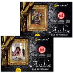 """Альбом для рисования, 24 л., BRAUBERG (БРАУБЕРГ), гребень, обложка мелов. картон, выб. лак, 120 г/м2, """"Мастера живописи"""", 2 вида"""